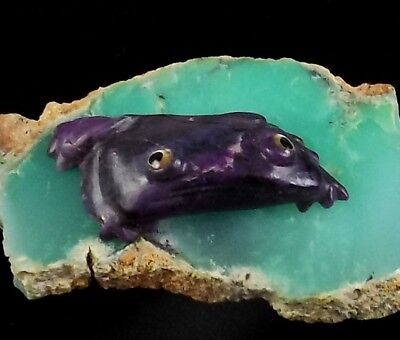 ZMT New Zuni Mini Ricky Frog Fetish by Ricky Laahty - Natural Purple Sugilite
