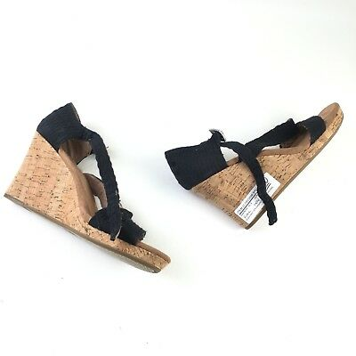 25bb9310806 TOMS Womens Black Cork Canvas Buckle Clarissa Wedge Sandals 8 NWOT DR02696
