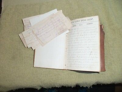 1877-1882 Tax Report Ledger.Belmont,Me. With Separate Recites in Leather Book