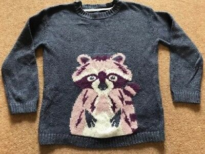 Fat Face 8-9 Years Girls Racoon Christmas Jumper