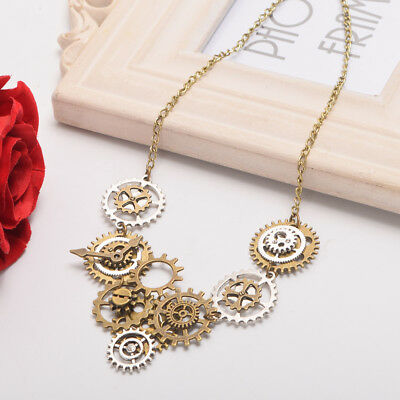 Vintage Steampunk Gear Watch Movements Necklace Pendant Party Costume Necklace