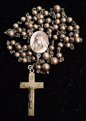 Vintage Antique C & H Sterling Silver Catholic Crucifix Cross Rosary Necklace
