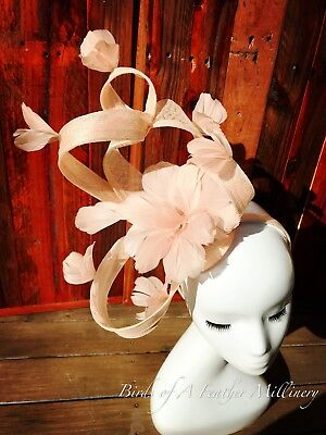 NUDE PINK feather fascinator #42 Flower Wedding Melbourne Cup  Spring Race