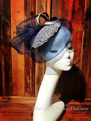 NAVY BLUE & WHITE LACE #17 Fascinator Melbourne Cup Wedding Spring Race Handmde