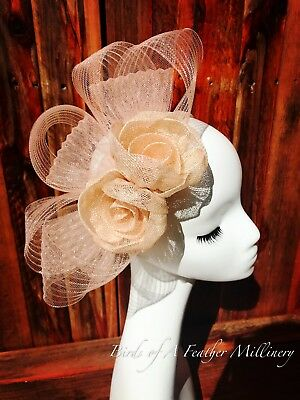 NUDE COLOUR #43 Flower Fascinator Melbourne Cup Wedding Spring Race Handmade