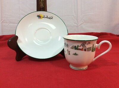 Lenox Sleighride Bone China Saucer and Tea Cup Replacements Vintage Christmas