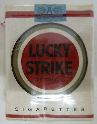 Collectible unopened package of LUCKY STRIKE Cigarettes from the 1960s or 1970s