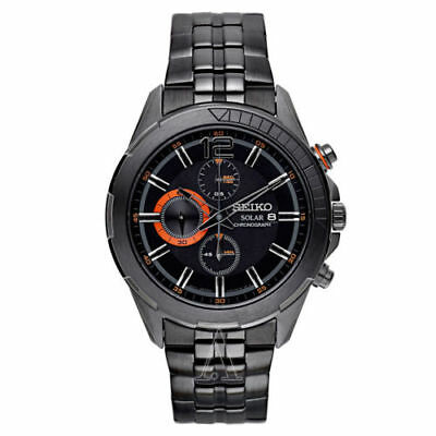 Seiko New SSC383 RECRAFT Chronograph Black Dial Black Ion-Plated Men's Watch