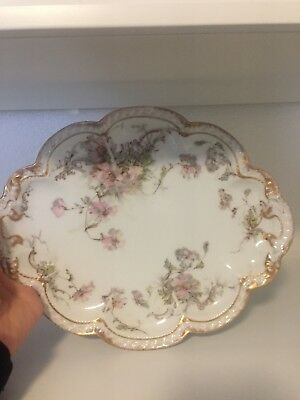 Antique Theodore Haviland Limoges France Pink Roses Large Platter