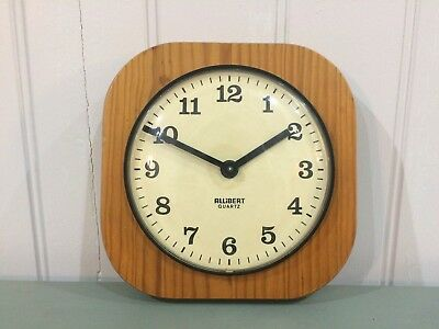 70/80s ALLiBERT WALL CLOCK, Vintage Wooden Pine, Retro KITCHEN BATTERY QUARTZ