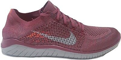 Mens Nike Free RN Flyknit 2018 Running Shoes Vintage Wine Grey Gray 942838 600