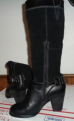Naturalizer Womens 7W  Leather/Suede Black Studded Buckle Boots Glassy