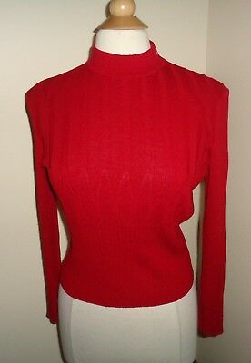 ST John Collection Red Santana Knit Pull Over Top Sweater Ribbed Size 6