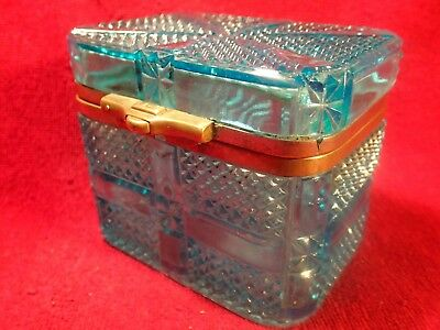 early 1900 AMAZING BLUE COLOR  PRESSED GLASS SUGAR / TEA BOX JAR IMPERIAL RUSSIA