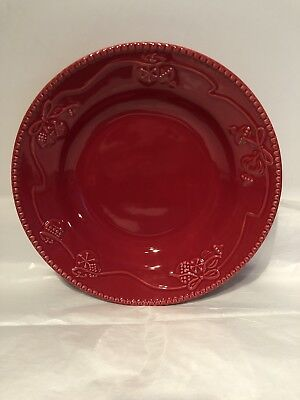 Set of 2 Martha Stewart Woodland Holiday Red Bowls Ornaments Cereal Soup Pasta