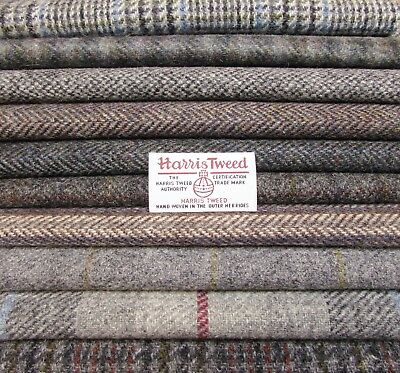 10 Piece Bundle of Harris Tweed for Crafts - Grey Mix with Label