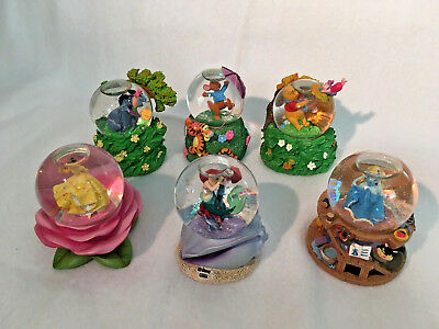 6 Miniature Disney Store Snow Globes Bell, Cinderella, Winnie the Pooh, Aerial