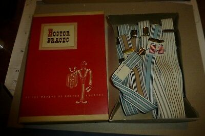 "Boston Braces box of 6 vintage suspenders NOS President 42"" George Frost Co."
