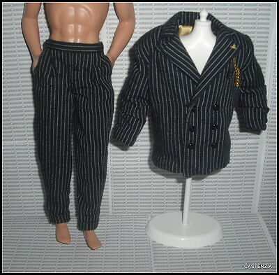 Outfit Barbie Doll Ken The Addams Family Gomez  Pinstriped Jacket  Pocket Pants