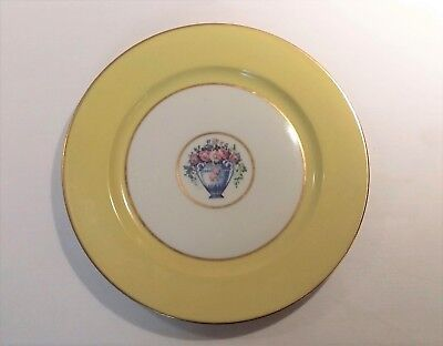 Vintage Limoges Porcelain Dinner Charger/Plate, France, Yellow w/Gold