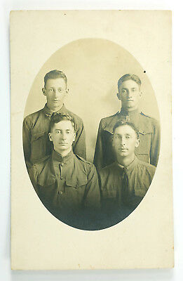 1918 Four WWI Soldiers Antique Real Photo Post Card