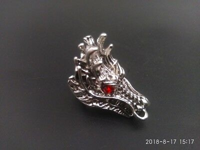 COLLECTIBLE old Miao Silver Handwork Dragon Animal Head Finger Ring Statue RN015