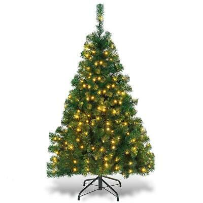 4.5ft Artificial Christmas Tree Premium Spruce Hinged Tree with LED Lights