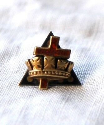 ATQ Knights Templar Masonic 14K GOLD Red Enamel Cross Pyramid Lapel or Hat Pin