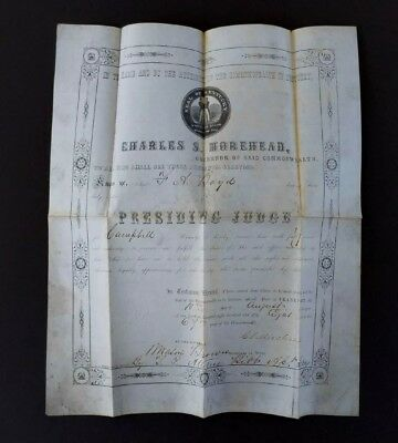 1858 Commonwealth of Kentucky Governor Charles S Morehead Certificate ~ Congress