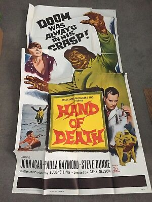 Hand Of Death 3-Sheet 1962 Horror Monster Unfolded For The First Time In 55 Yrs!