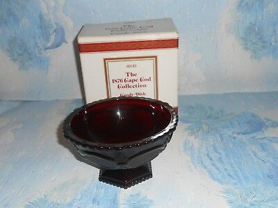 Vintage Ruby Red Candy Dish by Avon from 1876 Cape Cod Collection
