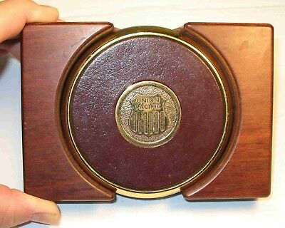 Quality UNION PACIFIC RAILROAD  Brass Drink Coaster Set in Solid Wood Holder