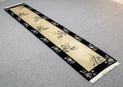 """Vintage FULL PILE CHINESE 2'.3""""X11'.3"""" Handknotted100% Wool Pile Rug GM-315"""