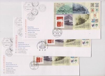 """Hong Kong, 1997, """"last Day Of British Colony"""" 3 Differ Chops On Gpo Fdcs. Fresh"""