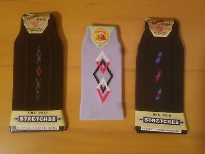 Men's Vintage 50s Atomic Designs ~ Deadstock  Socks ~ Stretch Nylon Nos