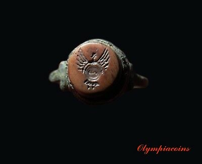 ** OUTSTANDING ** ANCIENT Roman Bronze ring ** VICTORY with SHIELD **