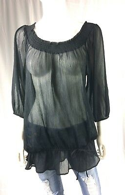 Motherhood Maternity Womens Size Medium Black Sheer 3/4 Sleeve Top EUC