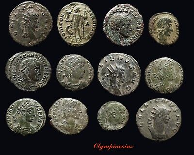 LOT OF 12 VERY FINE Ancient ROMAN BRONZE COINS