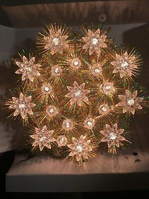 Holiday Style 20 Light Christmas Tree Topper white flowers