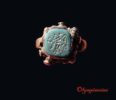 ** BEAUTIFULL ** Ancient Roman Silver  ring ** VICTORY ** on BLUE GEMSTONE