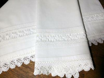 "Antique Pure Linen Lace Pillowcase Set Lace Insert Hemstitched 21""x33.5"""
