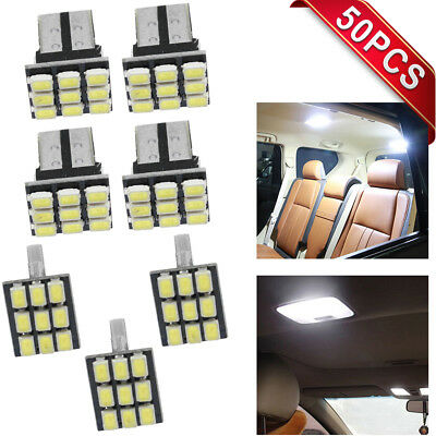 50x 194 168 2825 W5W T10 9-SMD Map Dome License Plate White Car LEDs light bulbs
