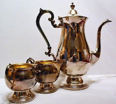 Vintage Sheridan Silver on Copper 3-Piece Coffee/Tea Set