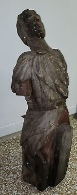 1800's Carved Painted Male with Toga Ship Figurehead Antique Nautical Maritime