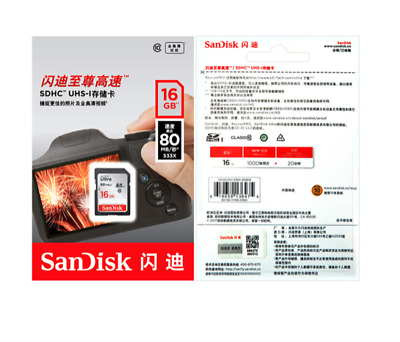 SanDisk 16GB Ultra SDHC SD Card Class 10 UHS-I Memory Card 80MB/S For Camera New