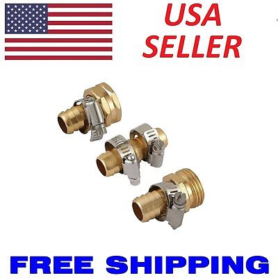 """Metal 5/8"""" Brass Garden Hose Repair Mender Kit Male Female With Stainless Clamp"""