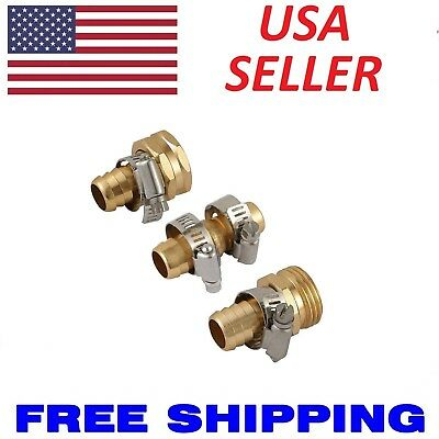 """Metal 3/4"""" Brass Garden Hose Repair Mender Kit Male Female With Stainless Clamp"""