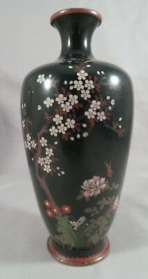 SIGNED Antique Japanese Sterling Silver Cherry Blossom Cloisonne Enamel Vase NR
