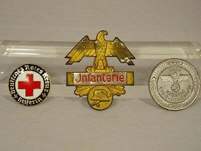 3 WWI - WWII German Military Medals, Pins -Infantry, Red Cross, Nazi