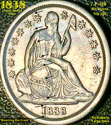 1838 Liberty Seated Dime (F-106) No Drapery, Large Stars (R3) Scarce **top 100**
